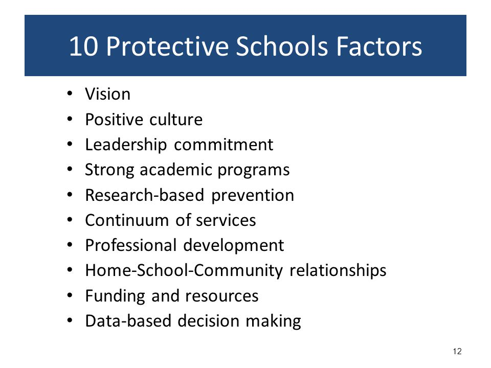 12 Vision Positive culture Leadership commitment Strong academic programs Research-based prevention Continuum of services Professional development Home-School-Community relationships Funding and resources Data-based decision making 10 Protective Schools Factors