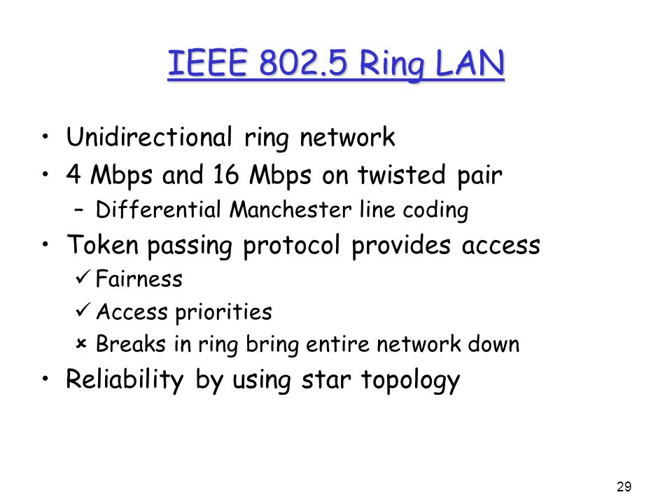 29 IEEE 802.5 Ring LAN Unidirectional ring network 4 Mbps and 16 Mbps on twisted pair –Differential Manchester line coding Token passing protocol provides access Fairness Access priorities  Breaks in ring bring entire network down Reliability by using star topology