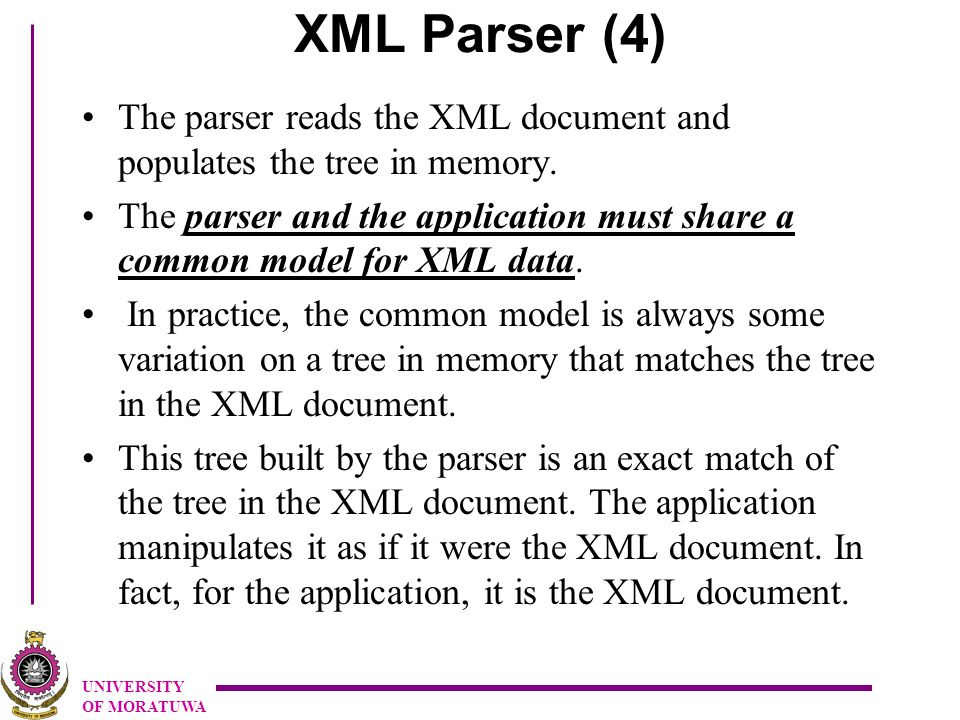 UNIVERSITY OF MORATUWA XML Parser (4) The parser reads the XML document and populates the tree in memory.