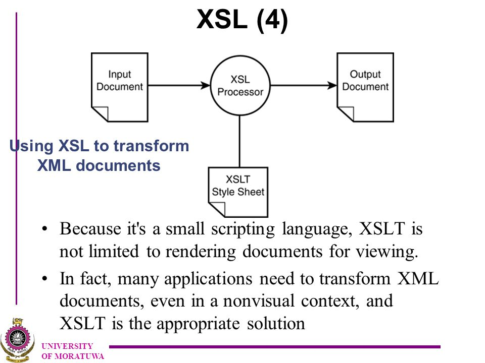 UNIVERSITY OF MORATUWA XSL (4) Because it s a small scripting language, XSLT is not limited to rendering documents for viewing.