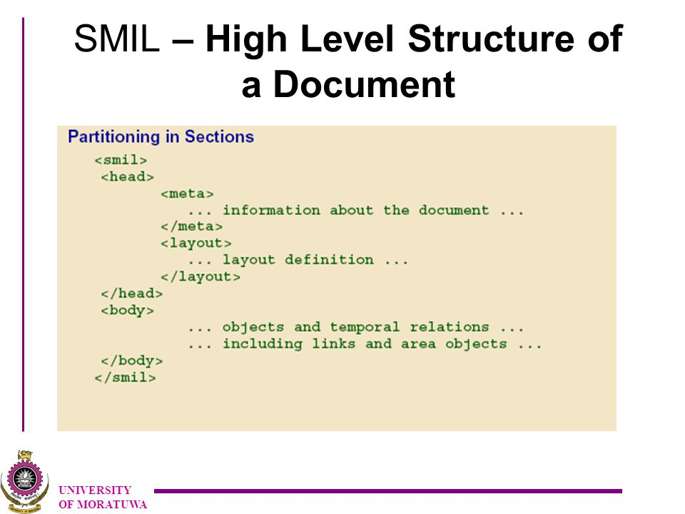 UNIVERSITY OF MORATUWA SMIL – High Level Structure of a Document