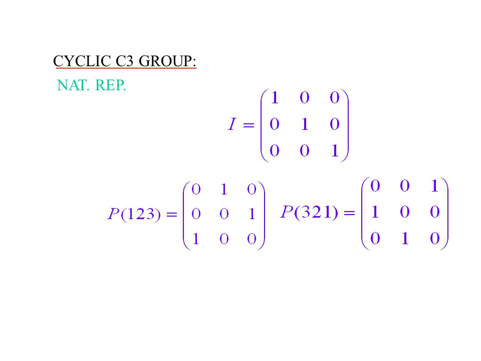 CYCLIC C3 GROUP: NAT. REP.