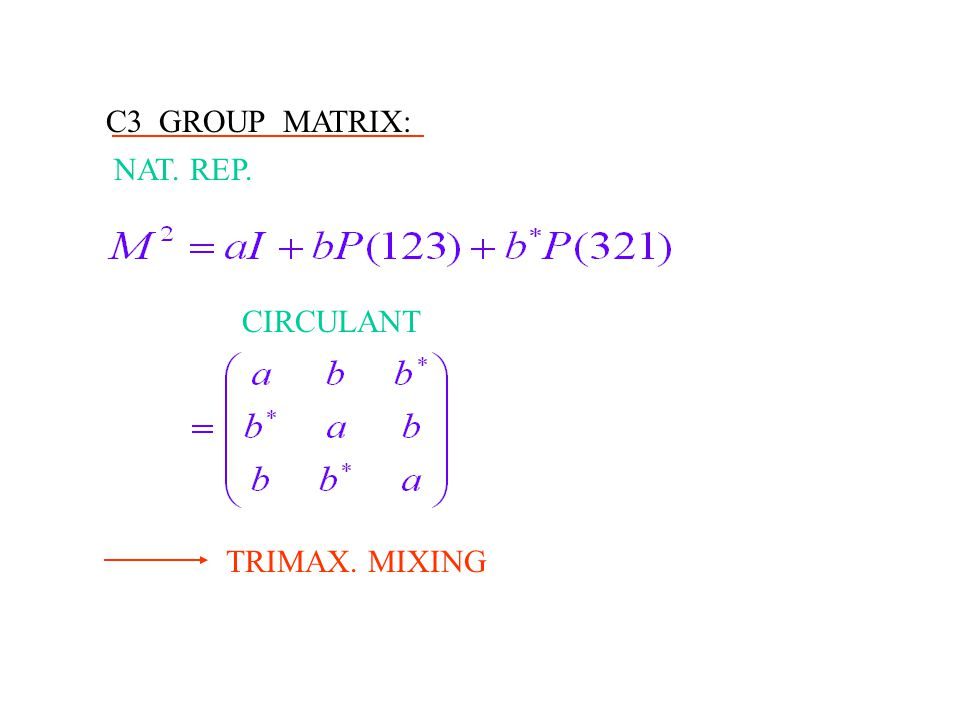 C3 GROUP MATRIX: NAT. REP. CIRCULANT TRIMAX. MIXING