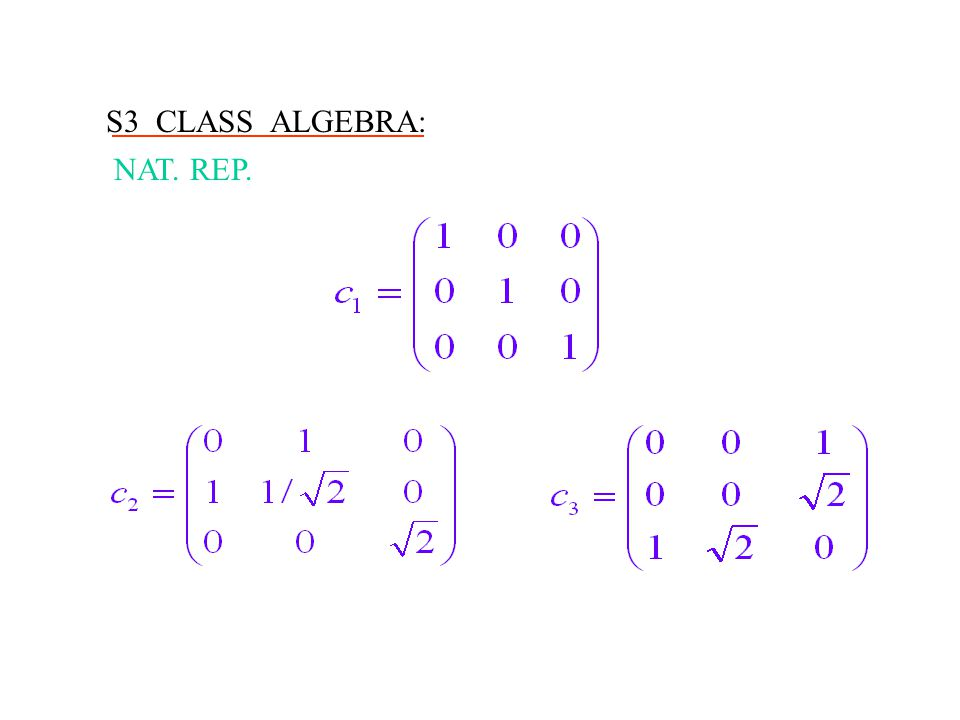 S3 CLASS ALGEBRA: NAT. REP.