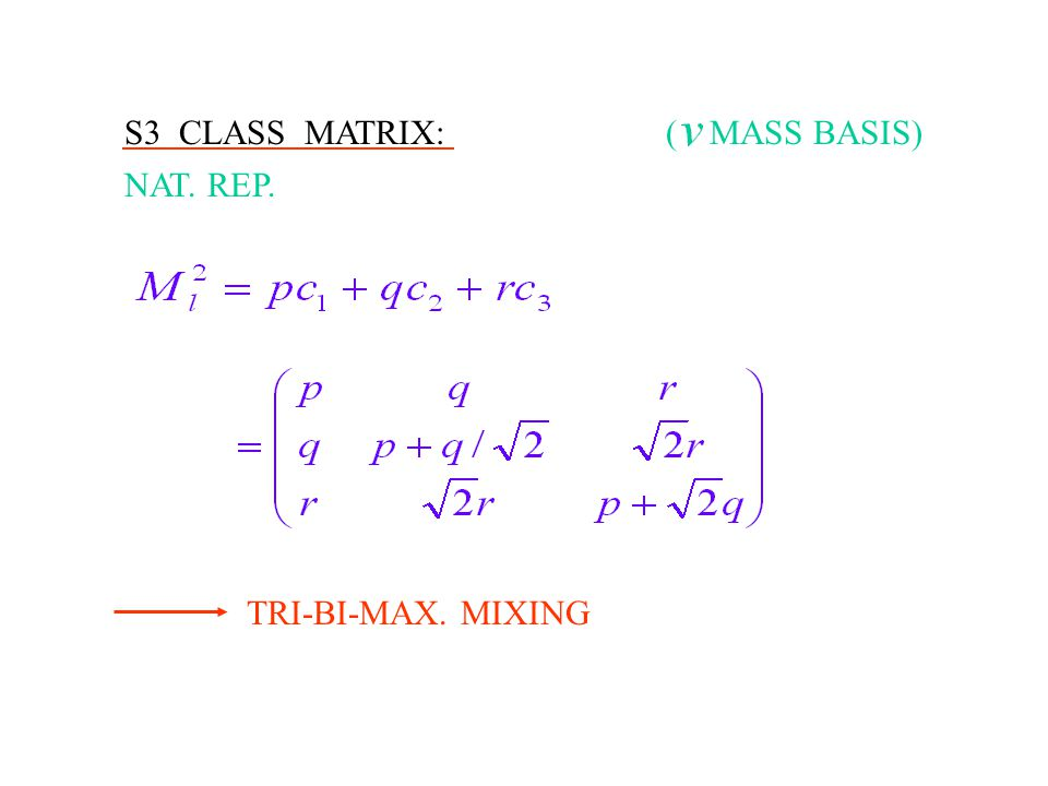 S3 CLASS MATRIX: NAT. REP. TRI-BI-MAX. MIXING MASS BASIS)(