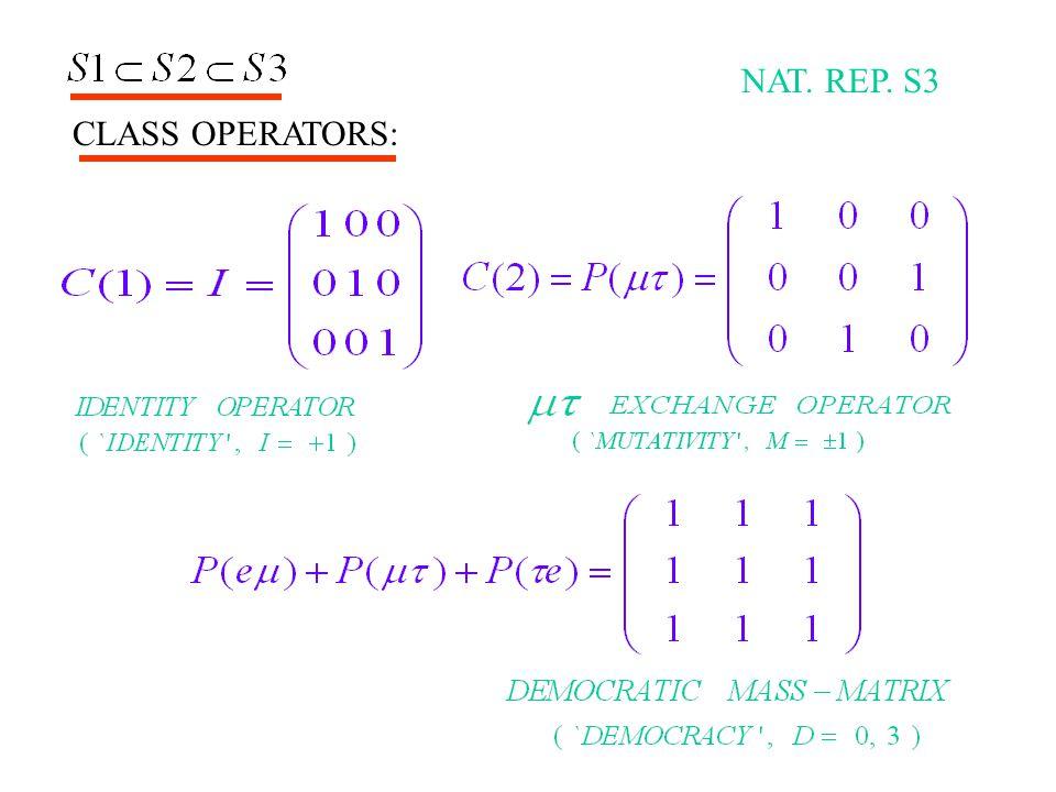 NAT. REP. S3 CLASS OPERATORS: