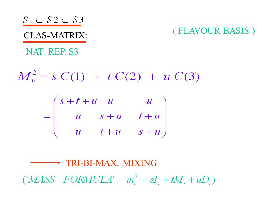 CLAS-MATRIX: NAT. REP. S3 TRI-BI-MAX. MIXING ( FLAVOUR BASIS )