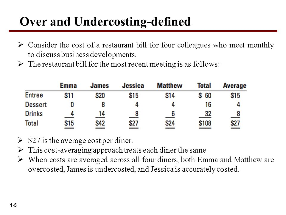 1-5 Over and Undercosting-defined  Consider the cost of a restaurant bill for four colleagues who meet monthly to discuss business developments.