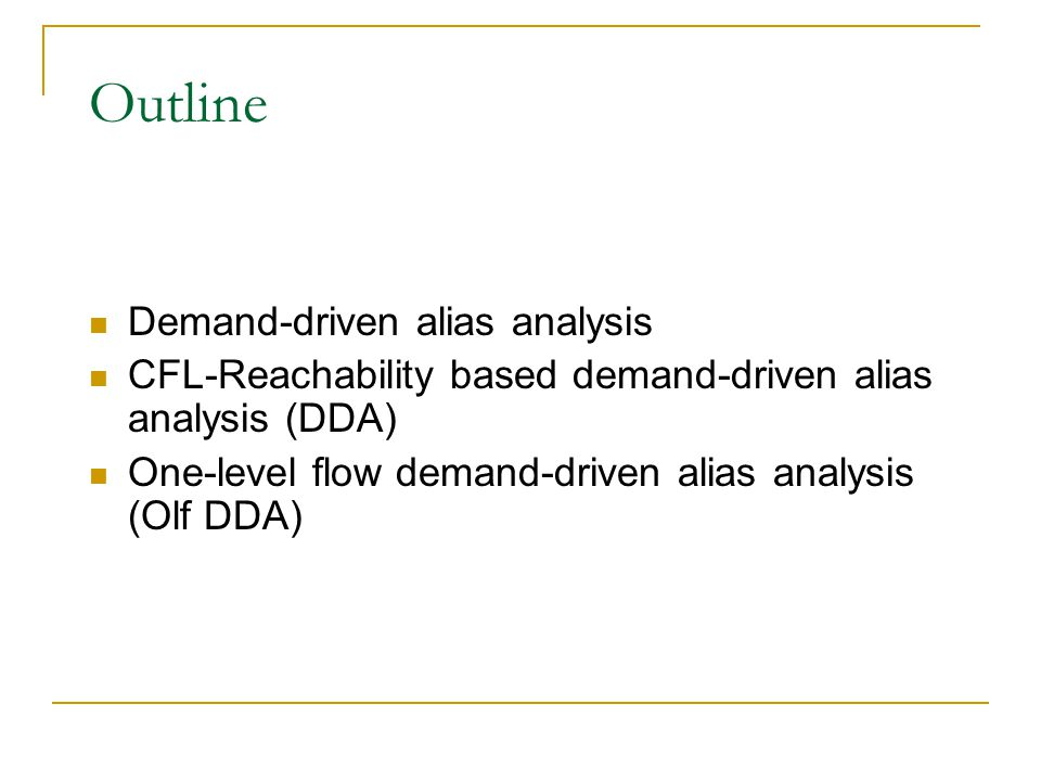 Scalabitlity Evaluation (2) — Results and Conclusion CFL-Reachability based alias analysis implementation doesn't have good scalability.