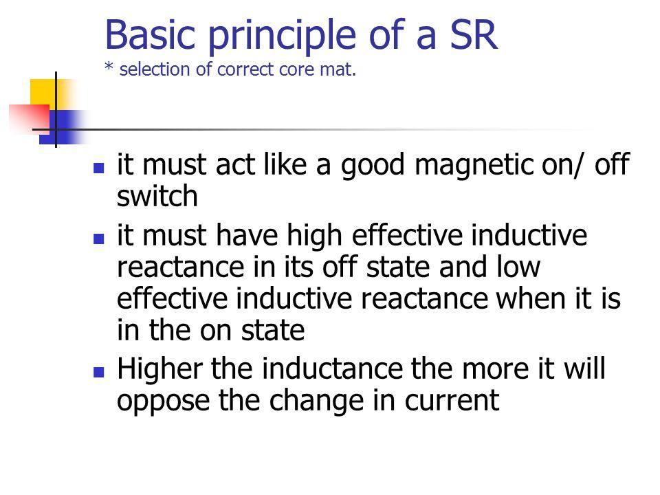 Basic principle of a SR * selection of correct core mat.
