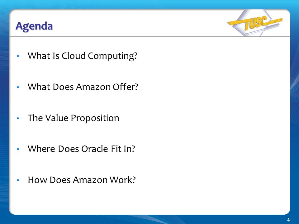 4 Agenda What Is Cloud Computing. What Does Amazon Offer.