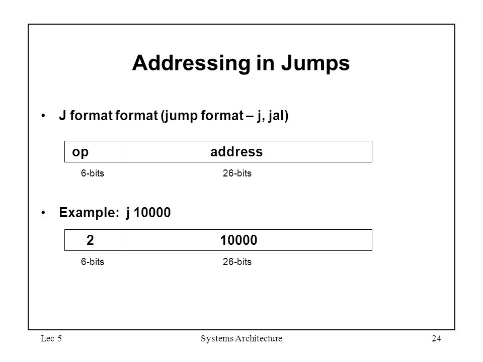 Lec 5Systems Architecture24 Addressing in Jumps J format format (jump format – j, jal) Example: j 10000 2 10000 6-bits26-bits op address 6-bits26-bits