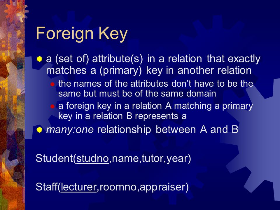 Foreign Key  a (set of) attribute(s) in a relation that exactly matches a (primary) key in another relation  the names of the attributes don't have to be the same but must be of the same domain  a foreign key in a relation A matching a primary key in a relation B represents a  many:one relationship between A and B Student(studno,name,tutor,year) Staff(lecturer,roomno,appraiser)