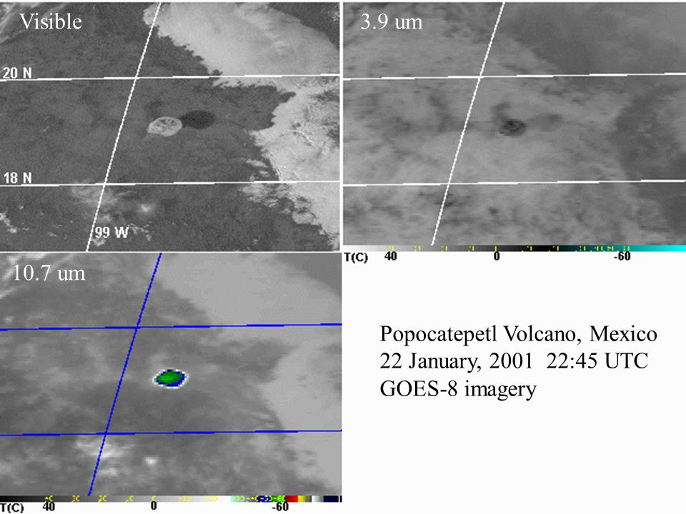 Popocatepetl Volcano, Mexico 22 January, 2001 22:45 UTC GOES-8 imagery Visible3.9 um 10.7 um