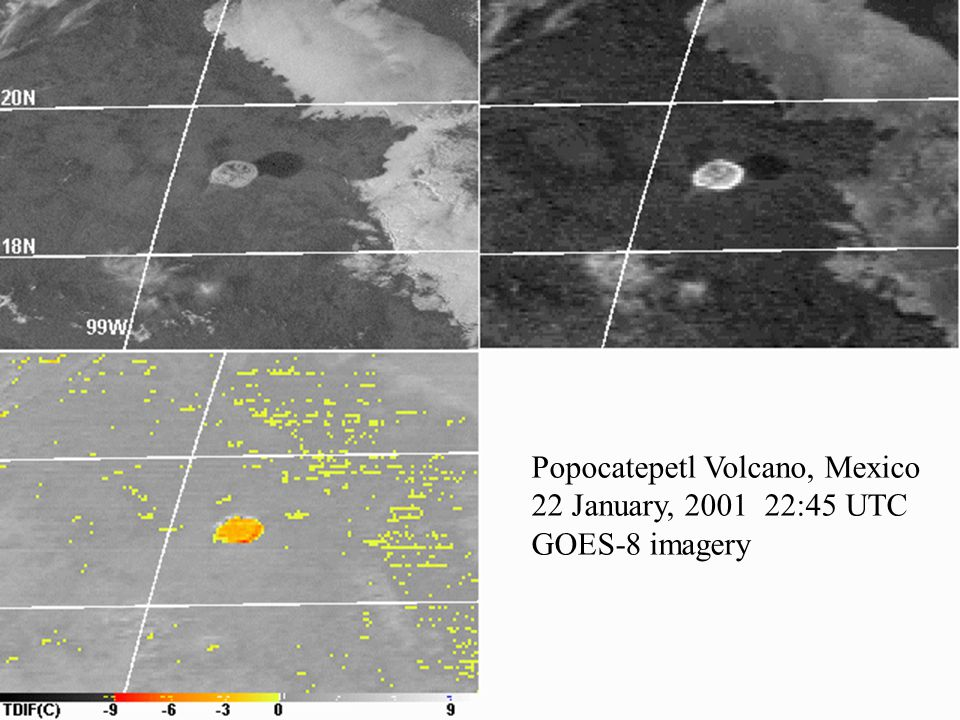 Popocatepetl Volcano, Mexico 22 January, 2001 22:45 UTC GOES-8 imagery
