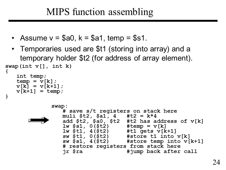 24 MIPS function assembling Assume v = $a0, k = $a1, temp = $s1.