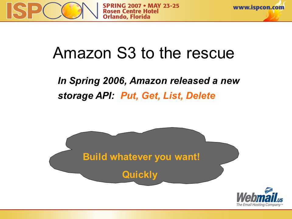 Build whatever you want! Amazon S3 to the rescue In Spring 2006, Amazon released a new storage API: Put, Get, List, Delete Quickly