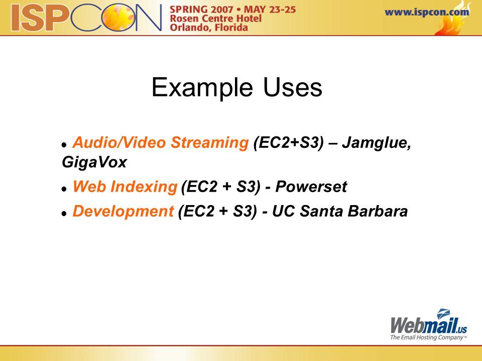 Example Uses Audio/Video Streaming (EC2+S3) – Jamglue, GigaVox Web Indexing (EC2 + S3) - Powerset Development (EC2 + S3) - UC Santa Barbara