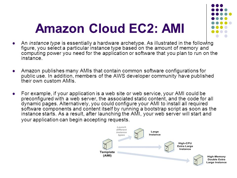 Amazon Cloud EC2: AMI An instance type is essentially a hardware archetype.