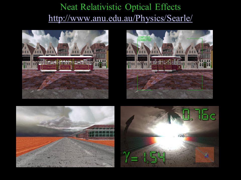 Neat Relativistic Optical Effects http://www.anu.edu.au/Physics/Searle/ http://www.anu.edu.au/Physics/Searle/