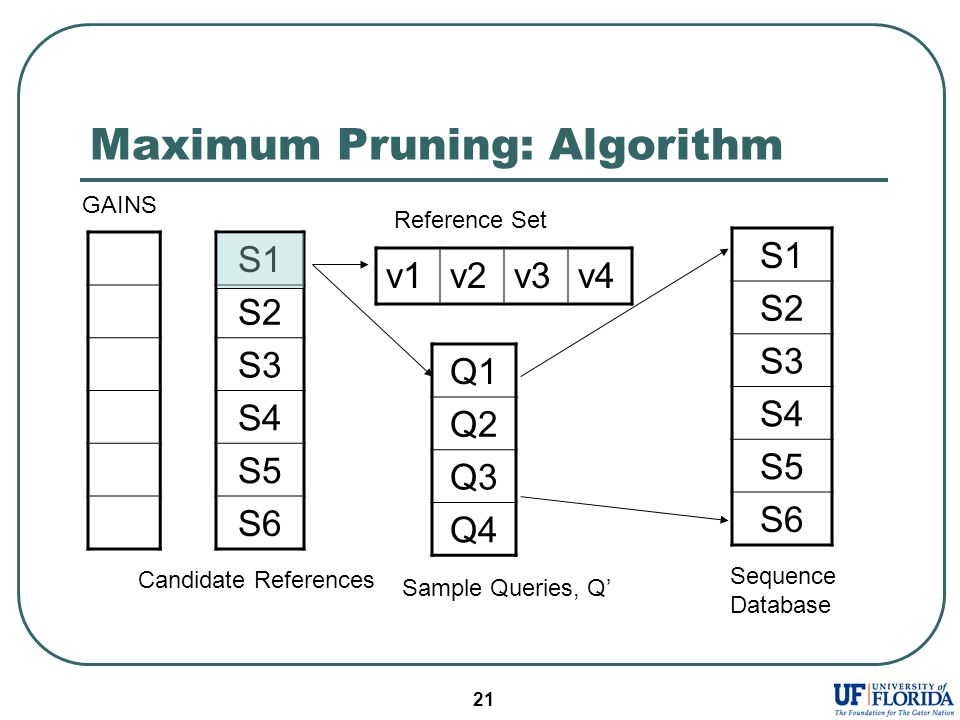 21 Maximum Pruning: Algorithm S1 S2 S3 S4 S5 S6 Q1 Q2 Q3 Q4 v1v2v3v4 Reference Set Sample Queries, Q' Candidate References S1 S2 S3 S4 S5 S6 Sequence Database GAINS