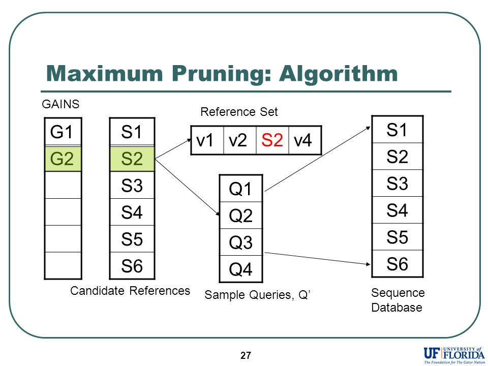 27 Maximum Pruning: Algorithm S1 S2 S3 S4 S5 S6 Q1 Q2 Q3 Q4 v1v2S2v4 Reference Set S1 S2 S3 S4 S5 S6 Sequence Database G1 G2 GAINS Sample Queries, Q' Candidate References