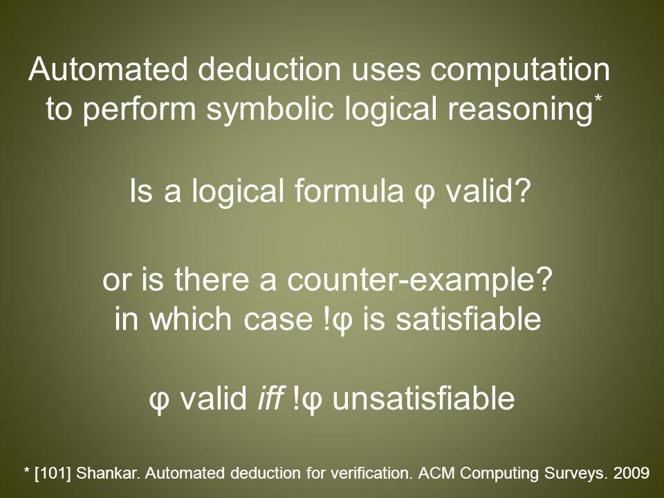 Automated deduction uses computation to perform symbolic logical reasoning * * [101] Shankar.