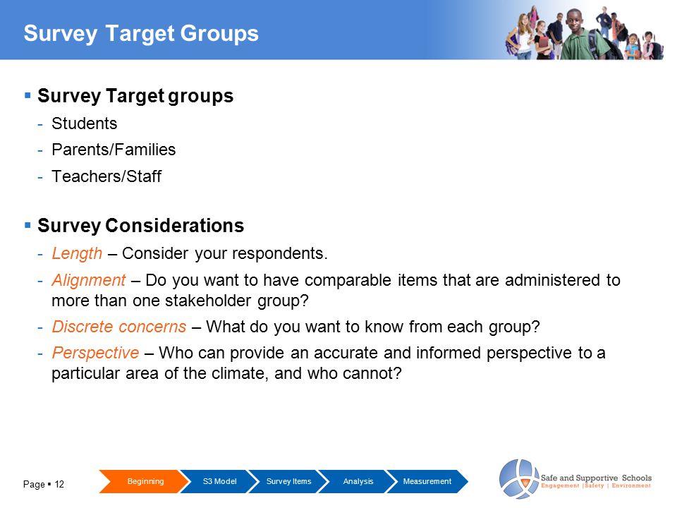 Page  12 Survey Target Groups  Survey Target groups -Students -Parents/Families -Teachers/Staff  Survey Considerations -Length – Consider your respondents.