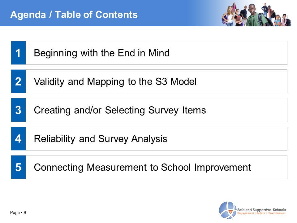 Page  9 Agenda / Table of Contents Beginning with the End in Mind Validity and Mapping to the S3 Model Creating and/or Selecting Survey Items Reliability and Survey Analysis Connecting Measurement to School Improvement 1 2 3 4 5