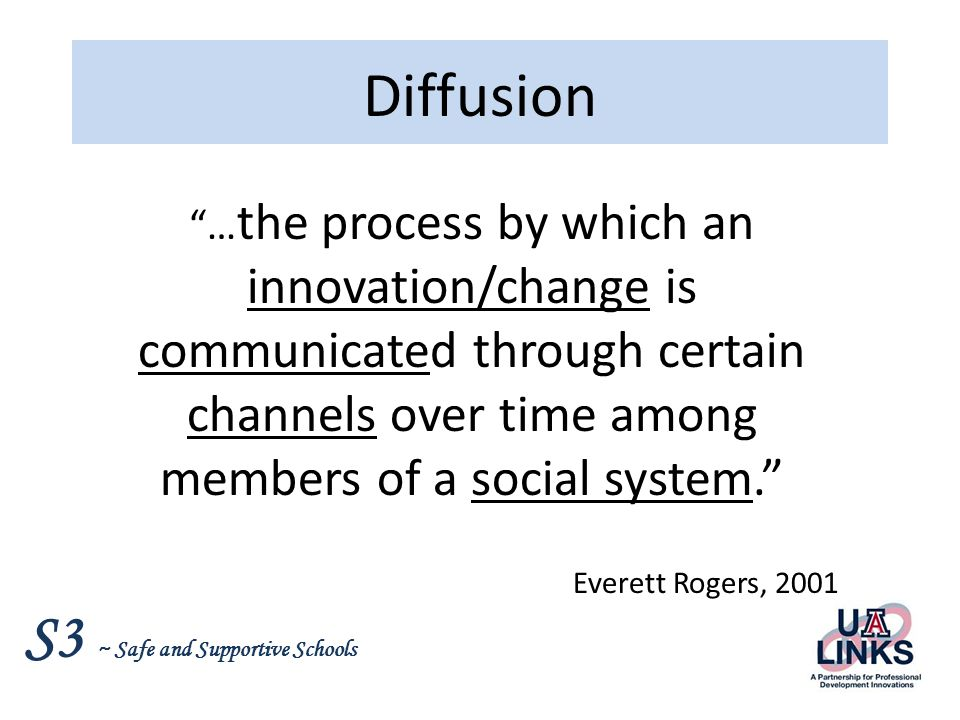S3 ~ Safe and Supportive Schools Change Process - Rogers Knowledge Persuasion DecisionImplementationConfirmation