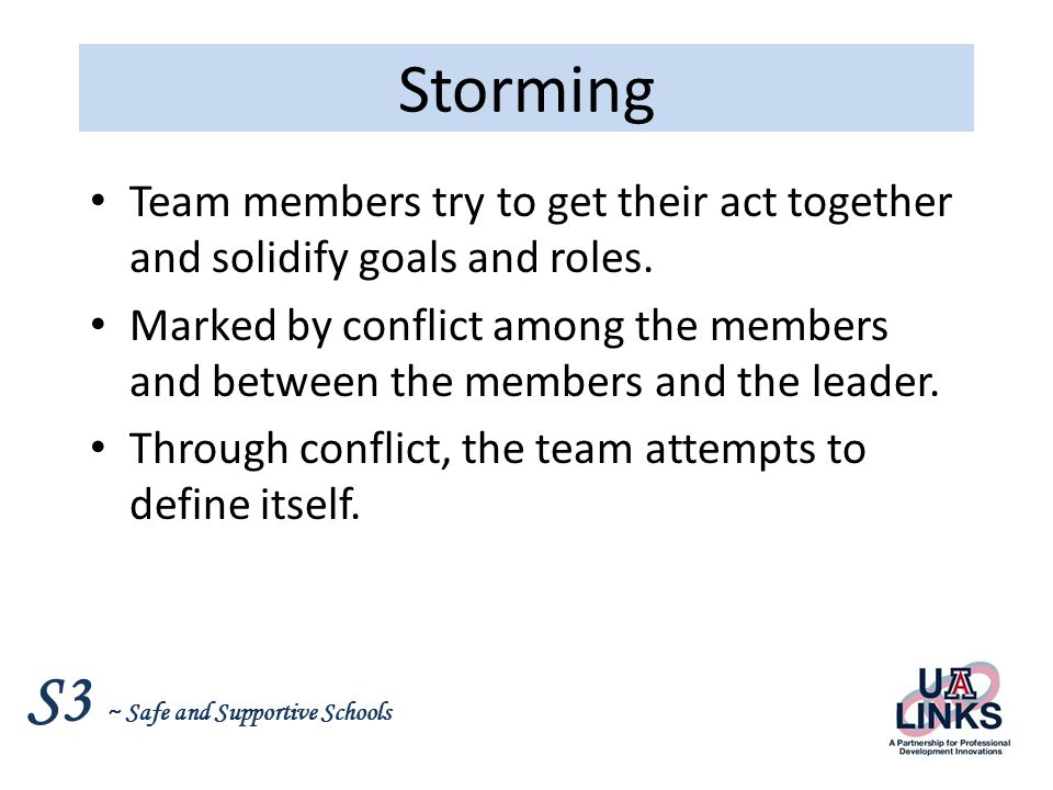 S3 ~ Safe and Supportive Schools Norming Team members: Feel more secure with one another and with their leader.