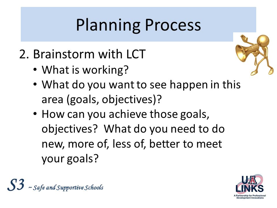 S3 ~ Safe and Supportive Schools Planning Process 3.Write an action plan Objectives – specific change Action steps Responsible party, timeframe Outcome indicators Resources 4.Present action plan to staff