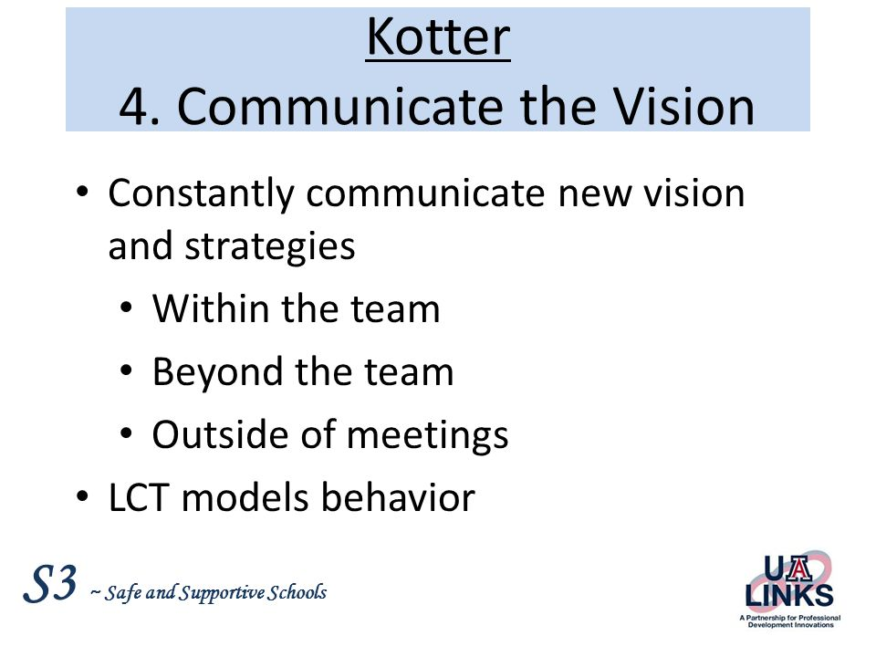 S3 ~ Safe and Supportive Schools Kotter 4.