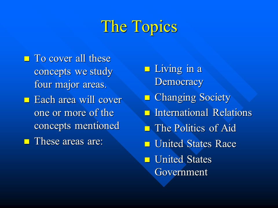 The Concepts Modern Studies at Standard Grade is based on a number of key concepts. Modern Studies at Standard Grade is based on a number of key conce