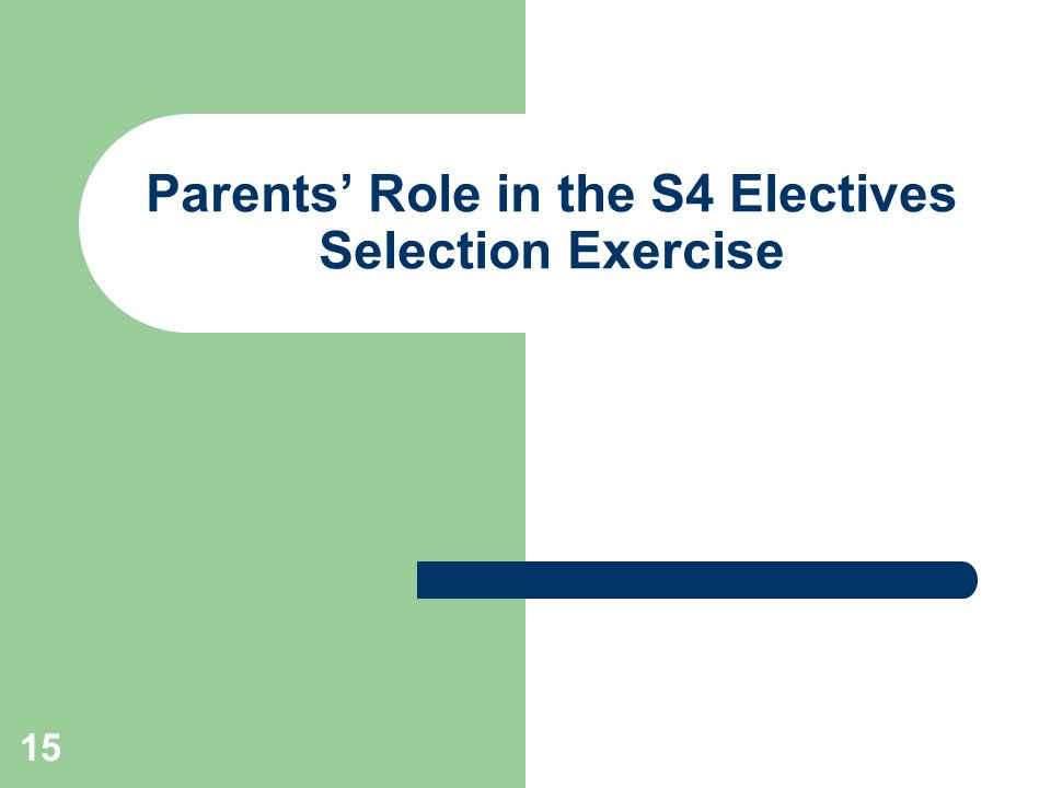 15 Parents' Role in the S4 Electives Selection Exercise