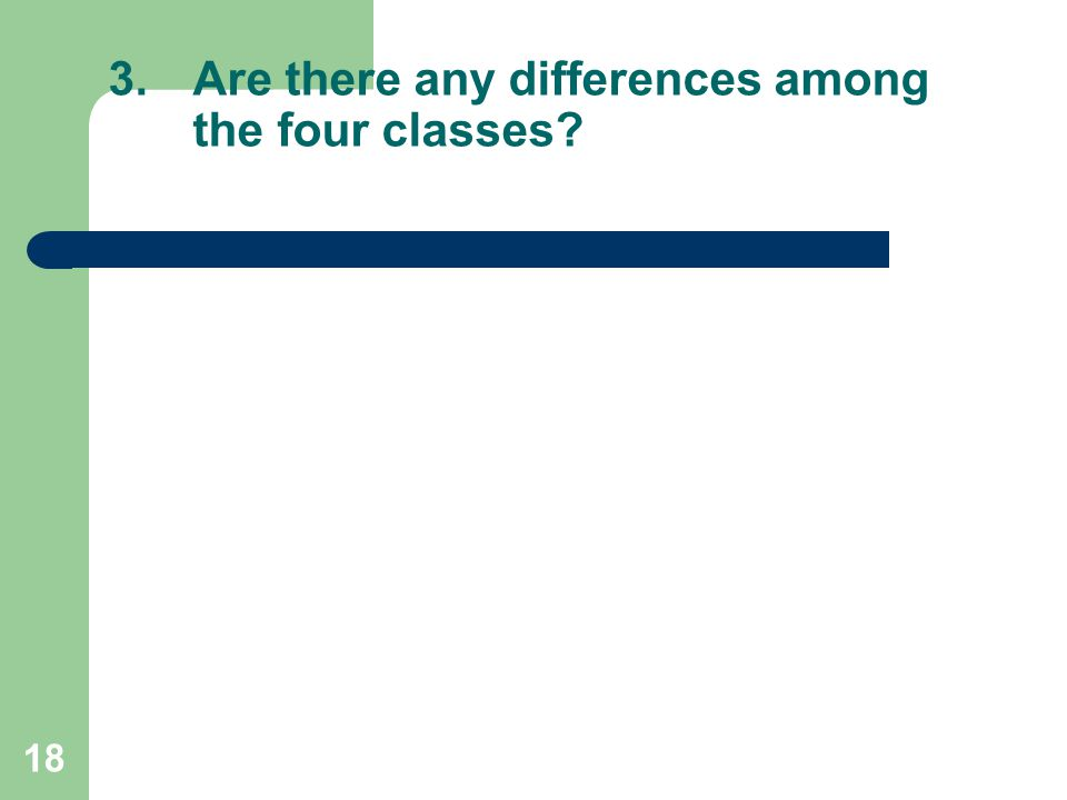 18 3.Are there any differences among the four classes?