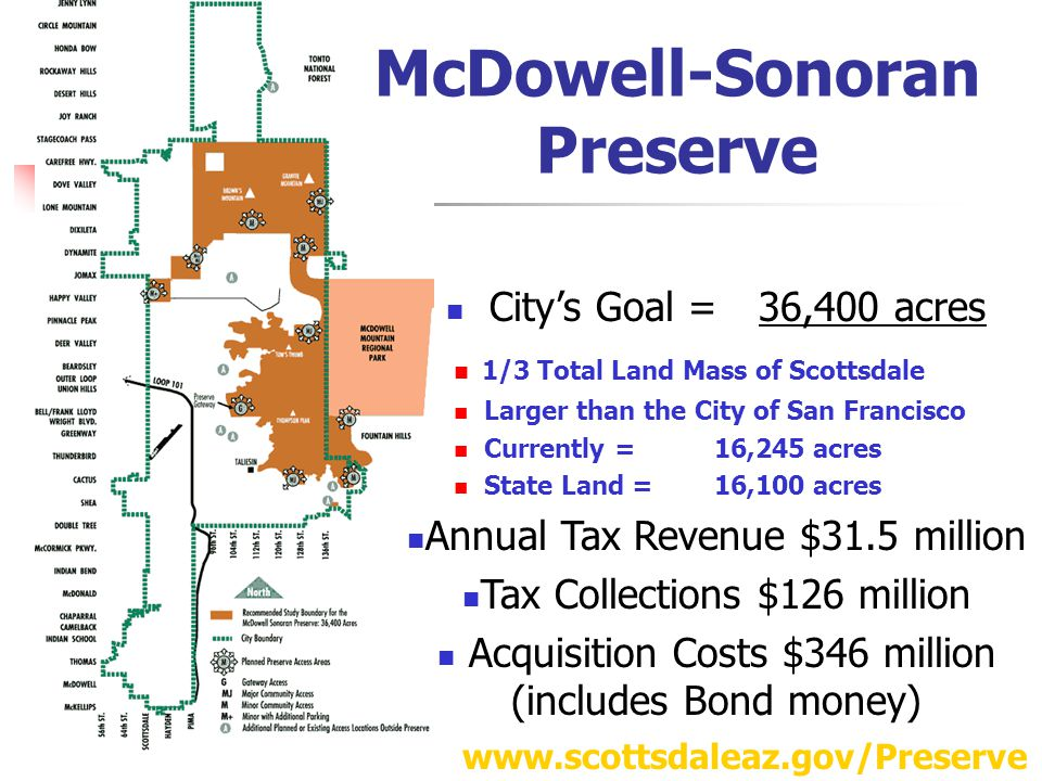 McDowell-Sonoran Preserve City's Goal =36,400 acres 1/3 Total Land Mass of Scottsdale Larger than the City of San Francisco Currently =16,245 acres State Land =16,100 acres Annual Tax Revenue $31.5 million Tax Collections $126 million Acquisition Costs $346 million (includes Bond money) www.scottsdaleaz.gov/Preserve
