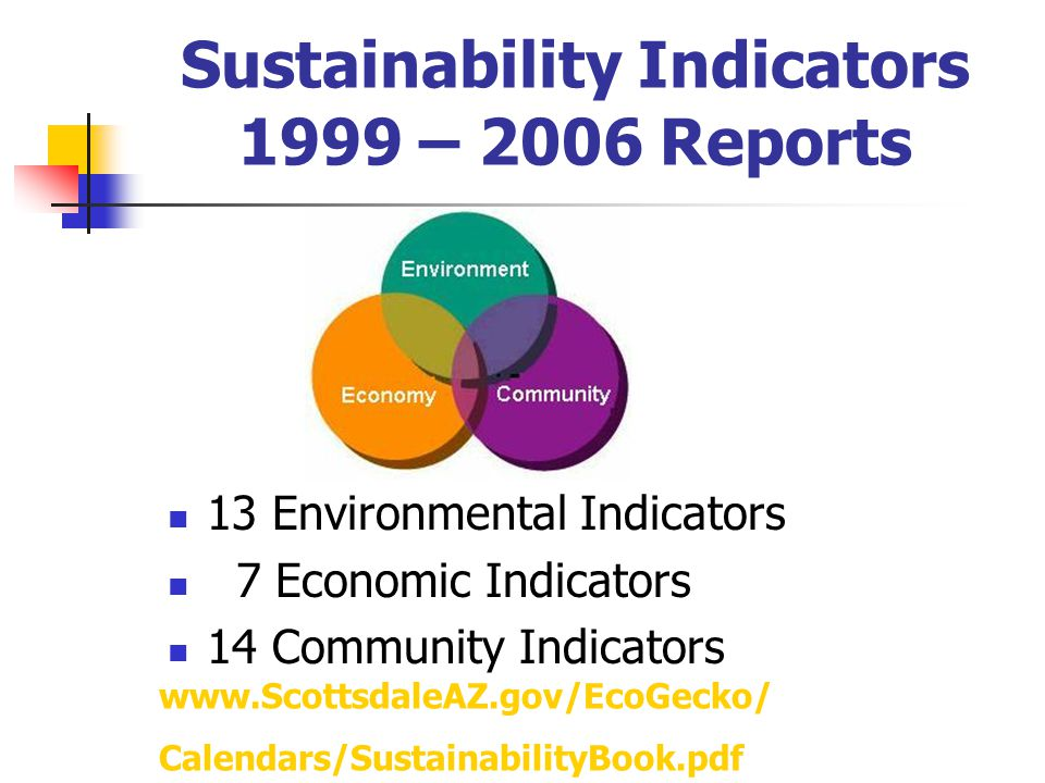 Sustainability Indicators 1999 – 2006 Reports 13 Environmental Indicators 7 Economic Indicators 14 Community Indicators www.ScottsdaleAZ.gov/EcoGecko/ Calendars/SustainabilityBook.pdf