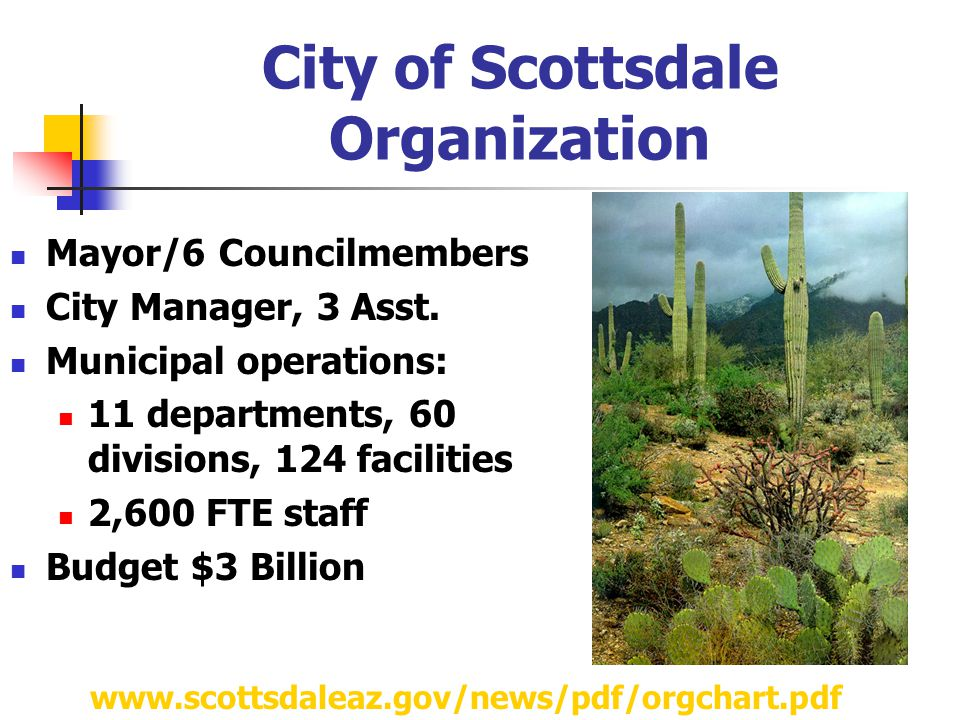City of Scottsdale Organization Mayor/6 Councilmembers City Manager, 3 Asst.