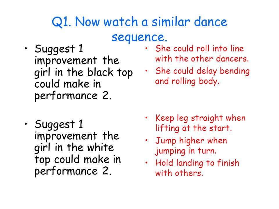 Q1. Now watch a similar dance sequence.