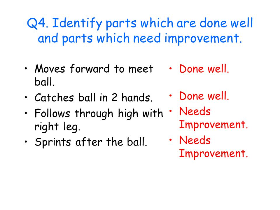 Q4. Identify parts which are done well and parts which need improvement.