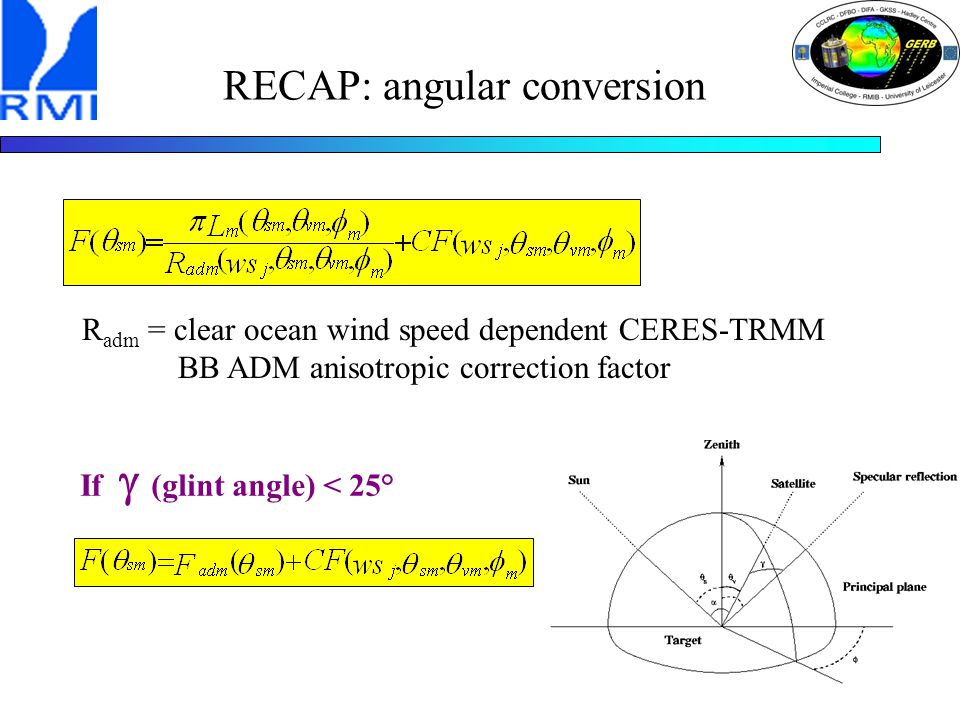 RECAP: angular conversion R adm = clear ocean wind speed dependent CERES-TRMM BB ADM anisotropic correction factor If  (glint angle) < 25°