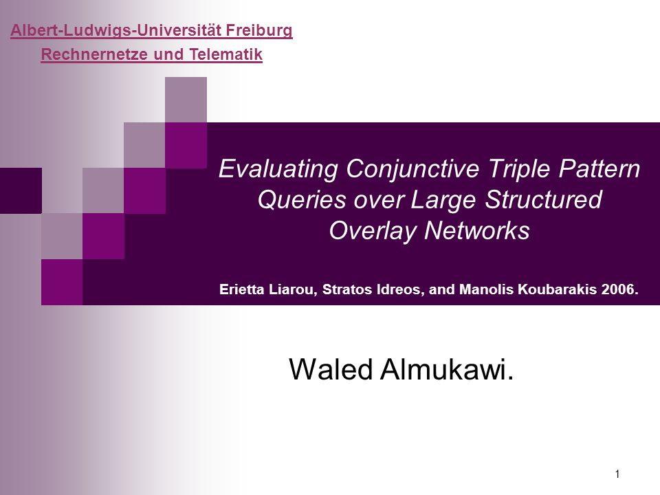 1 Evaluating Conjunctive Triple Pattern Queries over Large Structured Overlay Networks Erietta Liarou, Stratos Idreos, and Manolis Koubarakis 2006.