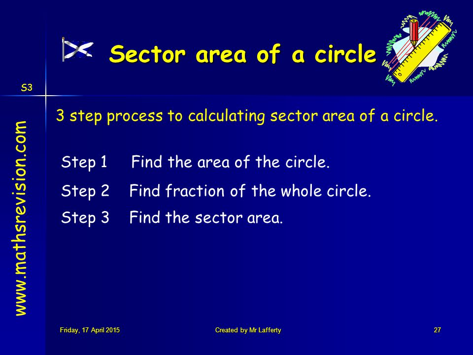 S3 Friday, 17 April 2015Friday, 17 April 2015Friday, 17 April 2015Friday, 17 April 2015Created by Mr Lafferty27 Sector area of a circle 3 step process to calculating sector area of a circle.