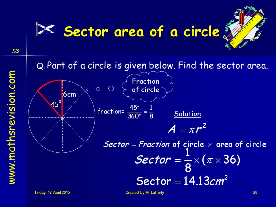 S3 Friday, 17 April 2015Friday, 17 April 2015Friday, 17 April 2015Friday, 17 April 2015Created by Mr Lafferty28 Solution 6cm Sector area of a circle 45 o Q.