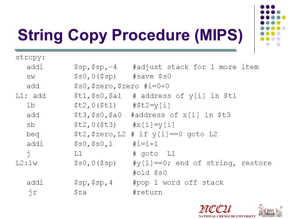String Copy Procedure C version void strcpy char x[], char y[] { int i; i=0; while ((x[i]=y[i])!='\0' i+=1; }