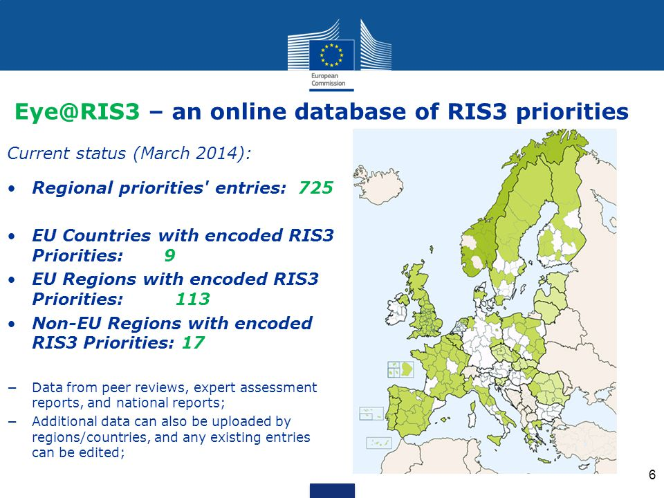 Eye@RIS3 – an online database of RIS3 priorities Current status (March 2014): Regional priorities entries: 725 EU Countries with encoded RIS3 Priorities: 9 EU Regions with encoded RIS3 Priorities: 113 Non-EU Regions with encoded RIS3 Priorities: 17 −Data from peer reviews, expert assessment reports, and national reports; −Additional data can also be uploaded by regions/countries, and any existing entries can be edited; 6