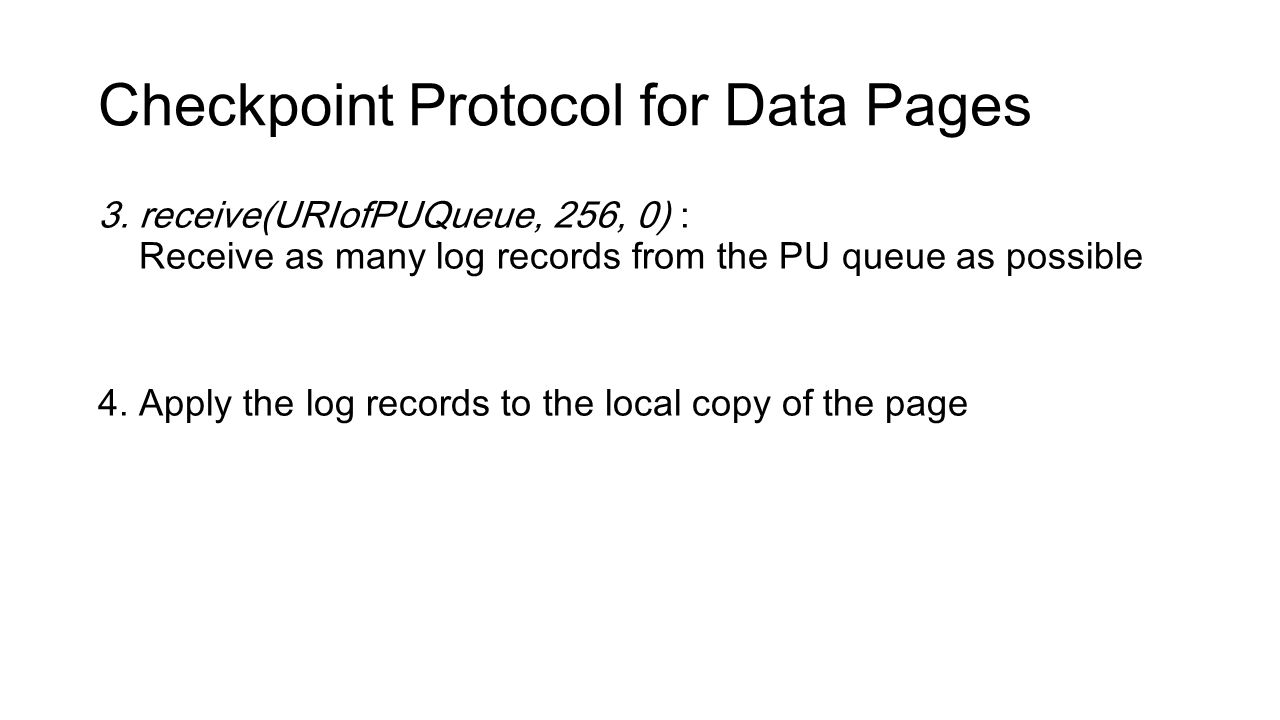 Checkpoint Protocol for Data Pages 3.