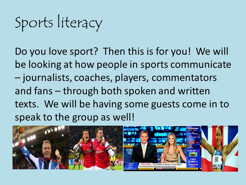 Sports literacy Do you love sport. Then this is for you.
