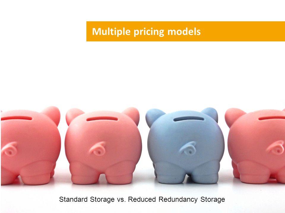 Multiple pricing models Standard Storage vs. Reduced Redundancy Storage